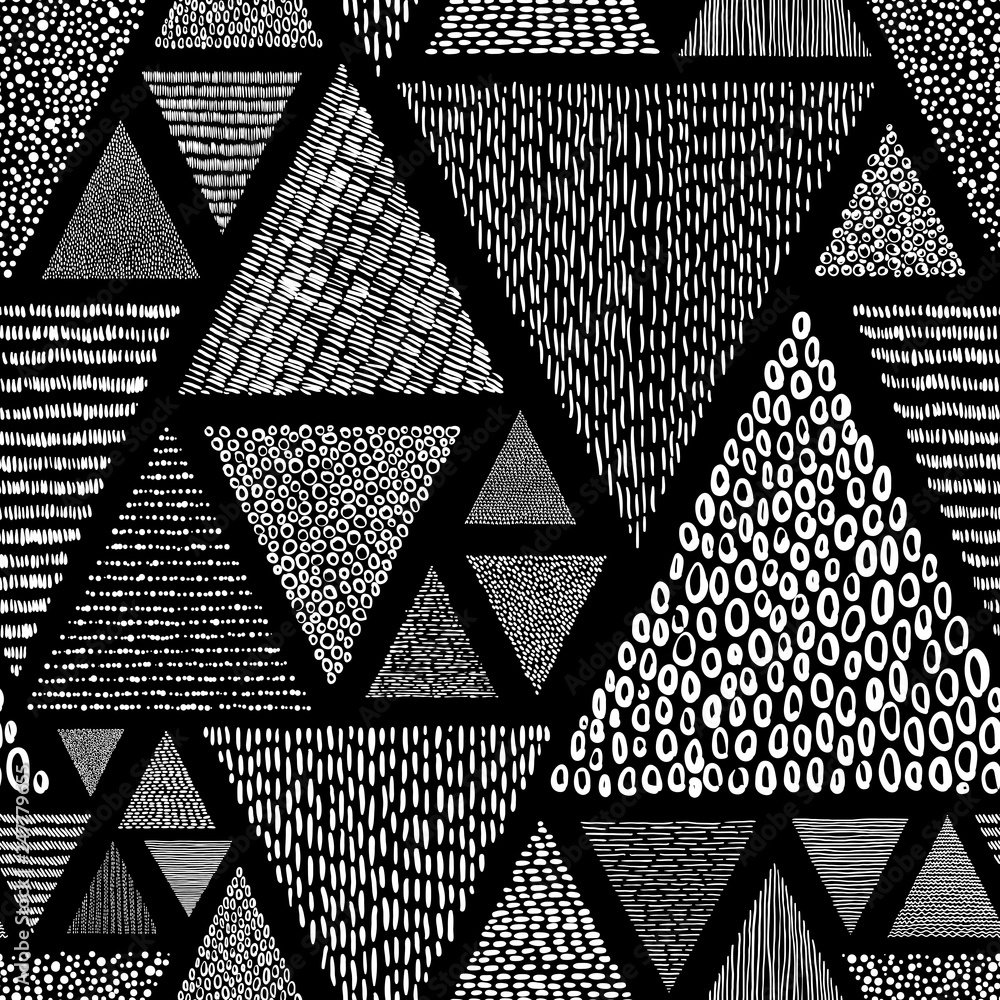 Fototapety, obrazy: Black and white doodle style pattern. Patchwork ornament drawn by hand. Set of triangles. Vector illustration.