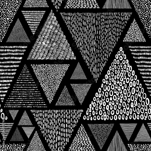 Door stickers Pattern Black and white doodle style pattern. Patchwork ornament drawn by hand. Set of triangles. Vector illustration.