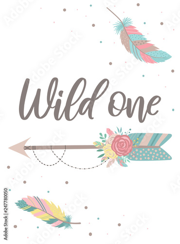 Foto-Lamellenvorhang - Vector image of an arrow in boho style with feathers, flowers and beads. Words Wild one  Hand-drawn illustration by national American motifs for baby, cards, flyers, posters, prints, holiday, child (von Anton)