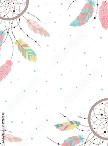 Foto-Lamellenvorhang - Vector image of a dreamcatcher in boho style bright feathers and dots. Hand-drawn illustration by national American motifs for baby, cards, flyers, posters, prints, holiday, children, decor, home (von Anton)