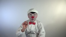 Emoji Clown. A Clown Wants To Talk And Asks For The Floor To Speak.