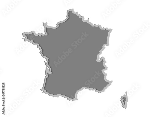 Photo  France map paper cut vector illustration, country isolated on a white background
