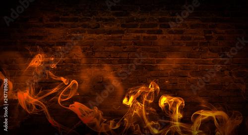 La pose en embrasure Feu, Flamme colorful smoke on a black background. Empty background of black brick wall, neon light, smoke.