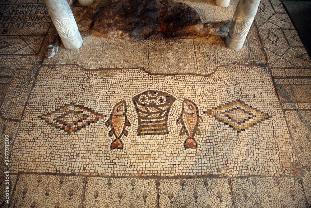 Fototapety, obrazy: Mosaic, The Church of the Multiplication of the Loaves and the Fishes, Tabgha, Israel
