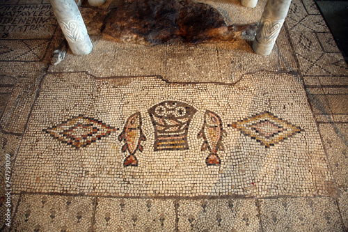 Mosaic, The Church of the Multiplication of the Loaves and the Fishes, Tabgha, I Fototapete