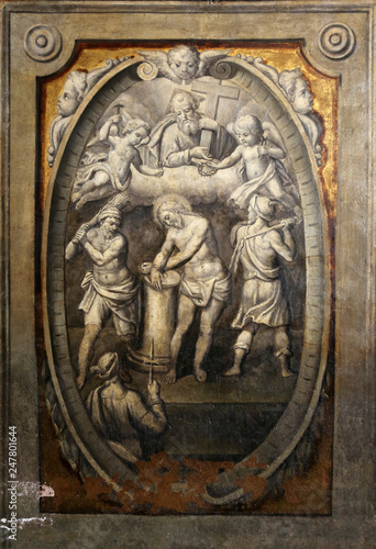 Fotomural The flagellation of the Christ, by Parmigianino in the Basilica of Santa Maria d