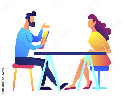 Cuadros en Lienzo Employer and candidate talking at job interview vector illustration
