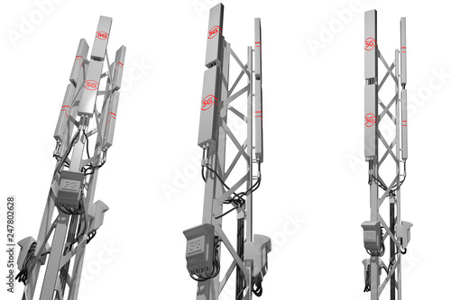5G big cellular network tower isolated on white - hi-tech industrial illustratio Canvas-taulu