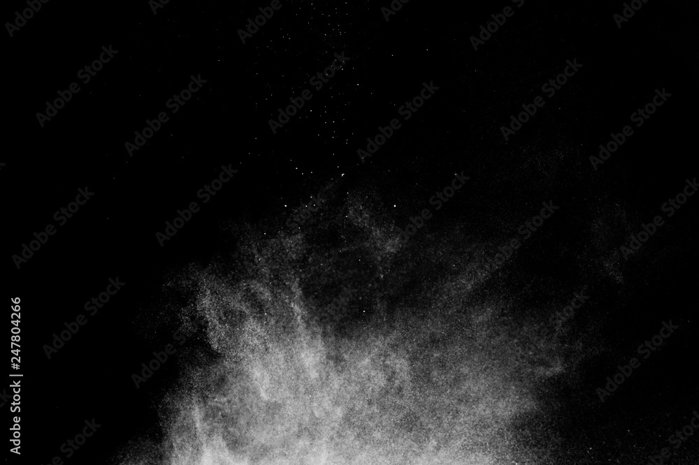 Fototapety, obrazy: white powder effect splash for makeup artist or graphic design in black background