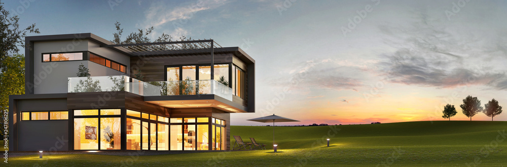 Fototapety, obrazy: Evening view of a luxurious modern house