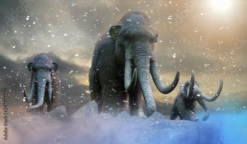 herd-of-mammoths-in-the-wild-render-3d