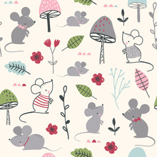 Seamless Childish Pattern With Mouses, Mushroom And Flowers