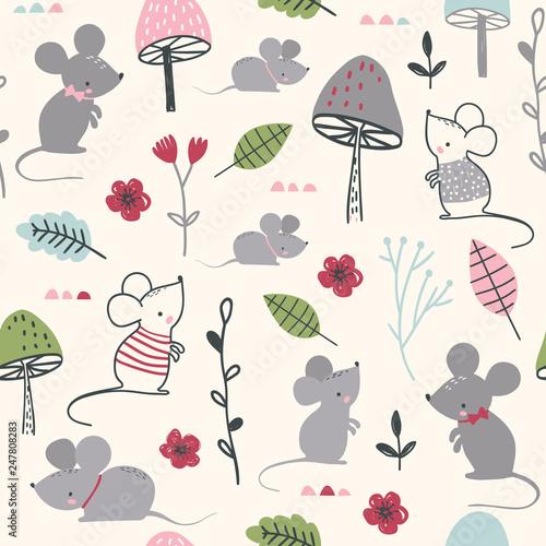 Türaufkleber Künstlich Seamless childish pattern with mouses, mushroom and flowers