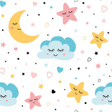 Seamless Childish Pattern With Baby Stars Cloud Moon Kids Texture Fabri Wallpaper Background Vector Illustration