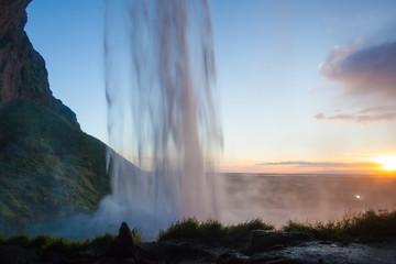 Seljalandsfoss waterfall during the sunset, Iceland