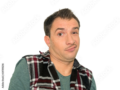 Photo of displeased angry  man expresses negative emotions, isolated over white background Wallpaper Mural