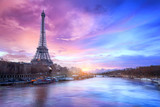 Sunset over the Seine river near Eiffel tower in Paris, France