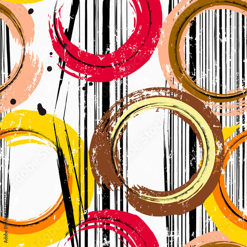 seamless background pattern, with circles, stripes, paint strokes and splashes