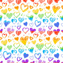 Seamless Pattern With Valentine Grunge Hearts