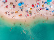 canvas print picture - aerial view of sunny sandy beach with blue azure water