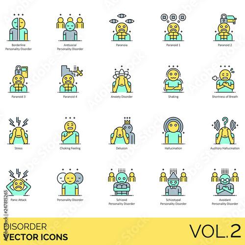 Valokuva Disorder icons including borderline personality, antisocial, paranoia, paranoid, anxiety, shaking, shortness of breath, stress, choking feeling, delusion, auditory hallucination, panic attack