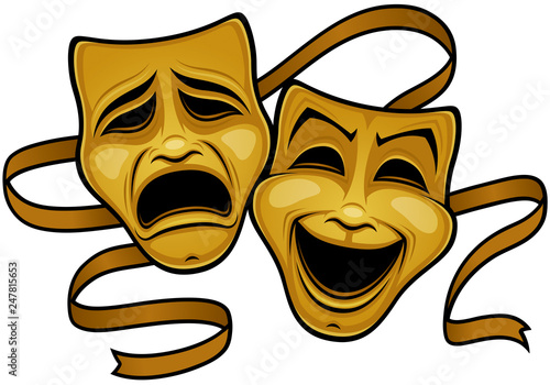 Fotografia  Gold Comedy And Tragedy Theater Masks