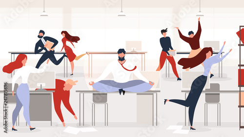 Fotografie, Obraz  Stress Relief at Office Workplace Vector Concept
