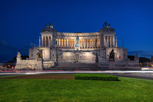 Rome, Italy At Dusk. Altare Della Patria (Altar Of The Fatherland),  Also Known As The National Monument To Victor Emmanuel II