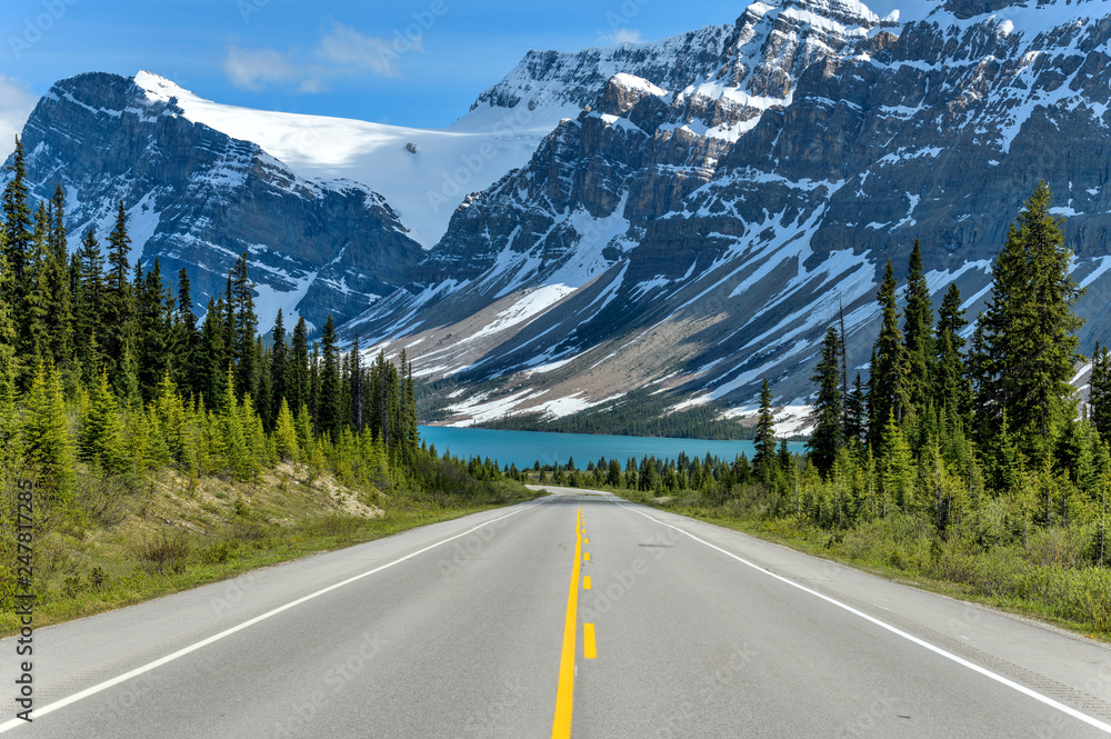 Fototapeta Icefields Parkway at Bow Lake - A Spring evening view of Icefields Parkway extending towards Bow Lake, with BowCrow Peak, Crowfoot Glacier and Crowfoot Mountain rising high behind, Banff National Park