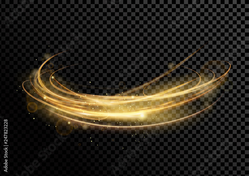 Fototapeta Vector illustration of golden dynamick lights and linze effect with sparcles isolated on transparent darck background