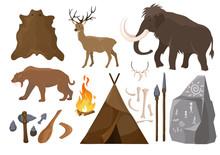 Vector Illustration Of Big Set Of Elements Of Stone Age Attributes. Primitive Ice Age Elements. Stone Age. Hunting Tools, Mammoth, Wigwam And Animals Bones And Skin For Anicent Time Concept In Flat