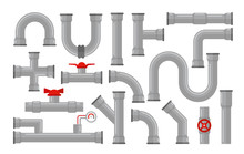 Vector Illustration Of Pipes, Types For Water Collection. Steel And Plastic Connectors, Pipes In Grey Color With Red Valves In Flat Style Isolated On White Background.
