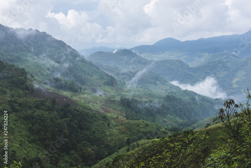 View of misty mountain after the rain in Chiang mai Thailand