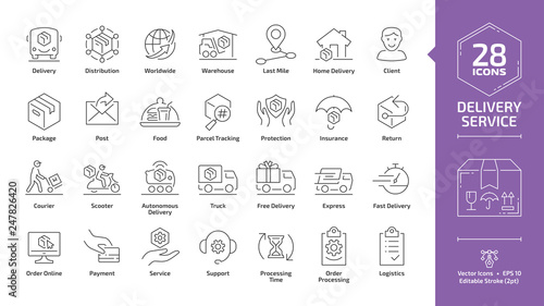 Obraz Delivery service editable stroke outline icon set with fast express package shipping, quick courier, cargo truck and van speed transport, parcel warehouse and food export silhouette line sign. - fototapety do salonu