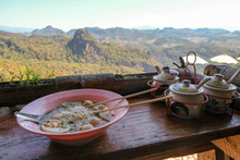 Thai Noodle And Seasoning  With Beautiful Landscape Mountain View Point At Baan Jabo Mae Hong Son Thailand