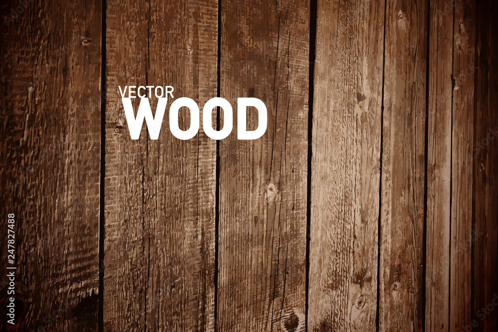 Fototapety, obrazy: Wooden Vector Background. Dark Wood Backdrop for Creative Designs.