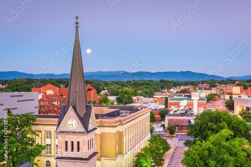 Fotografie, Obraz  Roanoke, Virginia, USA downtown cityscape and church steeple at dawn