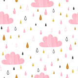 Seamless vector pattern with pink watercolor clouds and rain drops. Baby shower design. - 247831456
