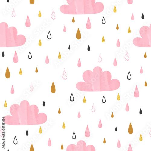 bezszwowe-wektor-wzor-z-rozowe-chmury-akwarela-i-krople-deszczu-projekt-prysznica-dla-dzieci