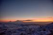 Ararat mountain in the winter sunset,Armenia.