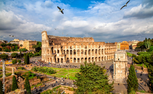 Fényképezés  Aerial scenic view of Colosseum in Rome, Italy