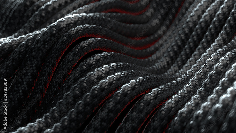 Fototapety, obrazy: 3d render abstract background with cables with carbon braid texture. Technology themed illustration. Wave shaped wires.
