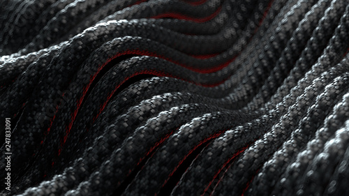 Crédence de cuisine en verre imprimé Tissu 3d render abstract background with cables with carbon braid texture. Technology themed illustration. Wave shaped wires.