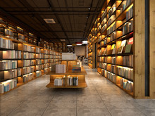 3d Render Library Interior