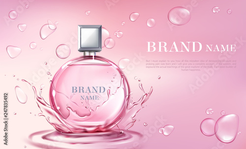 Fototapeta Vector 3d realistic poster, banner with perfume bottle, oil splashing or water drops. Shiny glass container with pink liquid. Cosmetic background for ad poster, promo banner. Floral essence, mock up. obraz