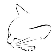 Logo Drawing Sketch Sleeping Black White Cat