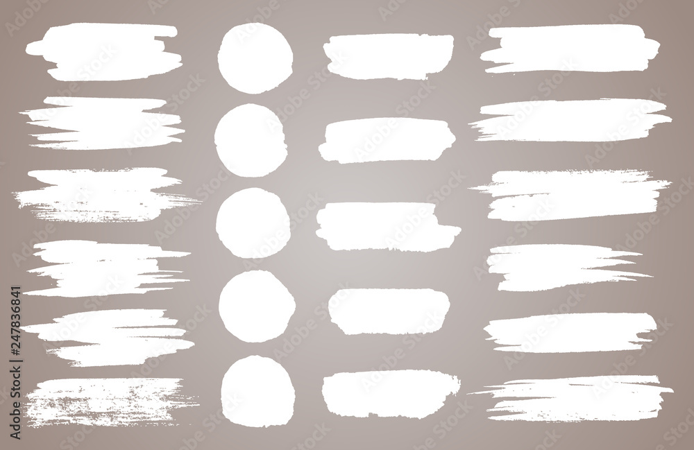 Fototapety, obrazy: Set of white ink vector stains. Vector black paint, ink brush stroke, brush, line or round texture. Dirty artistic design element, box, frame or background for text.