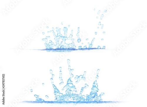 Fotografía  3D illustration of 2 side views of nice water splash - mockup isolated on white,