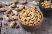 Peanuts In Small Wooden Bowl O...