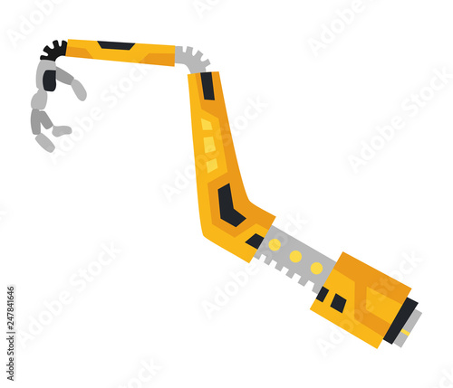 Photo Industrial mechanical robot arm vector icon. Yellow robotic arm.